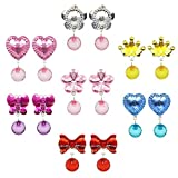Elesa Miracle 7 Pairs Kids Little Girl Baby Girl Shiny Clip-on Earrings Value Set Pretend Play Dress Up Accessories Toy Jewelry