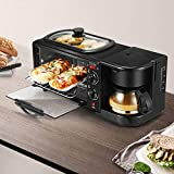 3-in-1 Electric Breakfast Station with Coffeemaker Toaster Oven Griddle Non‑Stick Grill Portable Family Size Breakfast Station (US Plug)