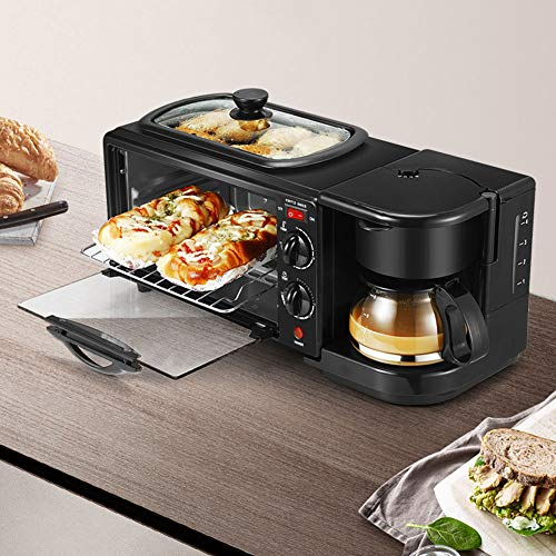 3 in 1 Breakfast Station Electric Breakfast Station with Coffeemaker Toaster Oven Griddle Non‑Stick Grill Portable Family Size Breakfast Station