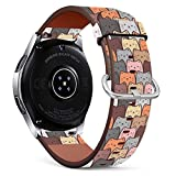 Compatible with Samsung Galaxy Watch3 45mm / Galaxy Watch 46mm, (Cats Wallpaper) PU Leather Band Replacement Standard 22mm Straps