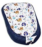 PALULLI Cuna de 120 x 60 cm, XXL Babykokon, 2 caras, 100% algodón, almohada, nido para cuna, cuna de bebé, cuna de viaje para bebés y bebés (osito)