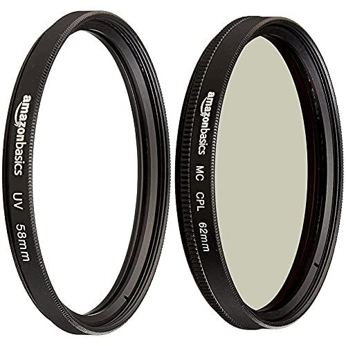 Amazon Basics UV-Sperrfilter - 58mm & Zirkularer Polarisationsfilter - 62mm