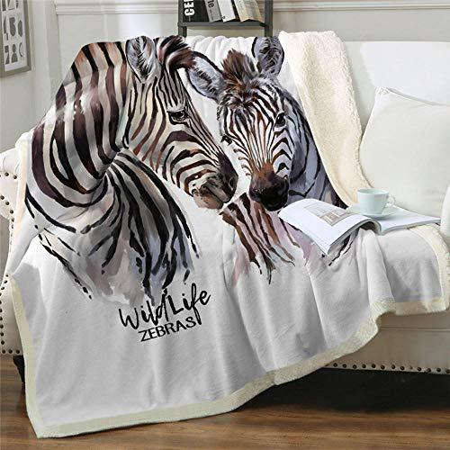 Fleecedecke 3D gedruckt Kuscheldecke Wildes Tier Zebra Plüschdecke Warme Tagesdecke Sherpa Flanell Wurfdecke für Erwachsene Kinder Freizeit Couch Stuhl Weiche Decke 130x150 cm