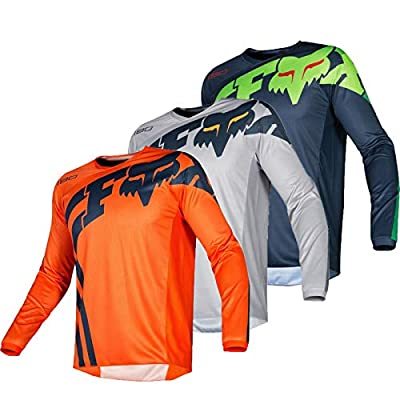Men Motocross Jersey Riding Racing Cycling Shirt Cool-max MTB BMX Motorcycle Shirt Downhill Sport Clothing (Gray,L)