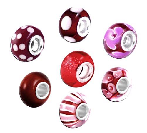 Akki Murano Glas Charms Beads für Armband Kette 8er Set Angebot Perle Blumenmuster Kompatibel mit Pandora Starter muranoglas schwarz weiß pink grün türkis Rot