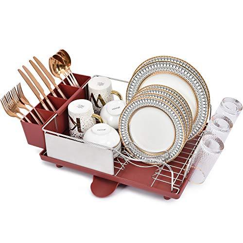 Kingrack Escurreplatos de acero inoxidable, estante de secado de platos con marco antioxidante, diseño opcional de 2 direcciones, extraíble y grande, soporte para utensilios de cocina, color r