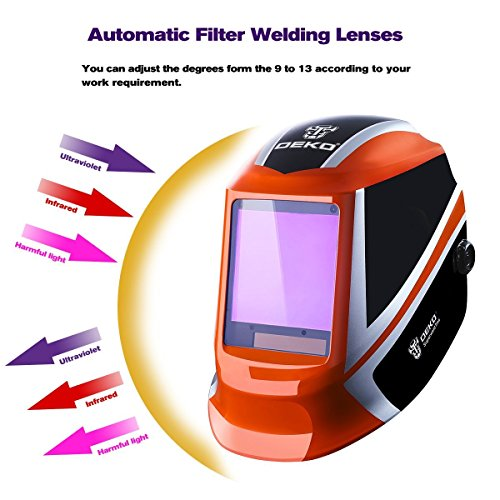 DEKOPRO Welding Helmet Auto Darkening Solar Powered