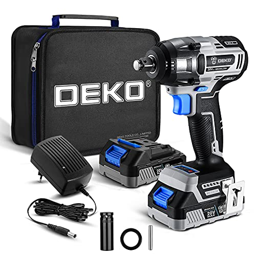 DEKOPRO Cordless Impact Wrench,20V Power Impact Wrenches, 1/2 Impact Wrench Chuck with 3200RPM, Variable Speed, Max Torque 258 ft-lbs (350N.m), 1x2.0A Li-ion Battery, 1 Hour Fast Charger and Tool Bag
