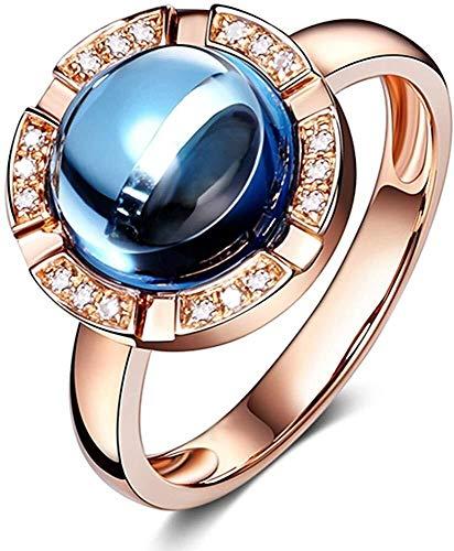 ketting 14Kt Rose Goud Natuurlijke Diamant Londen Blauw Topaas Edelsteen Belofte Engagement Weddign Band Ring voor Vrouwen, Ring Grootte: O 1/2