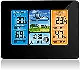 W-JIUJIA Station météo sans Fil, prévisions numériques à l'intérieur Thermomètre extérieure Thermomètre de température Humidité Humidité Weather Clock avec capteur extérieur (Bois) (Color : Black)