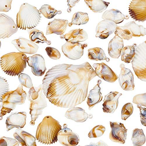 NBEADS 100 colgantes de imitación de piedras preciosas, accesorios de estilo de concha acrílica, para hacer collares y pulseras, pendientes, color blanco floral