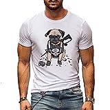 Deportiva Camisa Hombre Clásica Tendencia Cuello Redondo Animal Estampado Hombre Camiseta Básica Ajustado Elástica Manga Corta Moderna Wicking Transpirable Hombre Muscular Shirt B-DG2 4XL