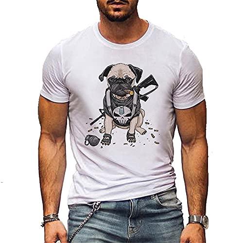 Camiseta Hombres Verano Casual Cuello Redondo Creativo Patrón Cachorro Shirt Deportiva Hombre Slim Fit Elasticidad Cómoda Shirt Correr Jogging Entrenamiento Manga Corta Hombres B-DG2 XL