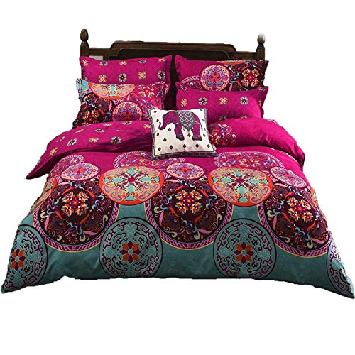 LAMEJOR Duvet Cover Set Twin Size Bohemia Exotic Pattern Luxury Soft Bedding Set Comforter Cover (1 Duvet Cover+2 Pillowcases) Fuchsia Pink/Turquoise Blue