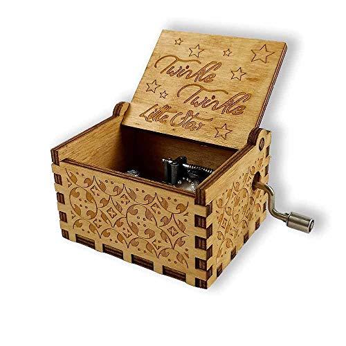 Integrity.1 Caja de Música Decorativa Tallada, Caja Música Madera con Manivela, Caja de Música de Madera Antigua, como Regalo para Niños, Decoración del Hogar (Twinkle Twinkle Little Star)