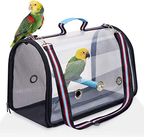 AK KYC Bird Carrier Bag Portable Travel Bird Cage Lightweight Breathable Parrot Perch Space Capsule Bubble Backpack