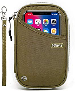 DEFWAY Passport Holder Travel Wallet - Waterproof RFID Blocking Credit Card Organizer Travel Document Bag Ticket Wallet with Strap for Men Women (Small Green)