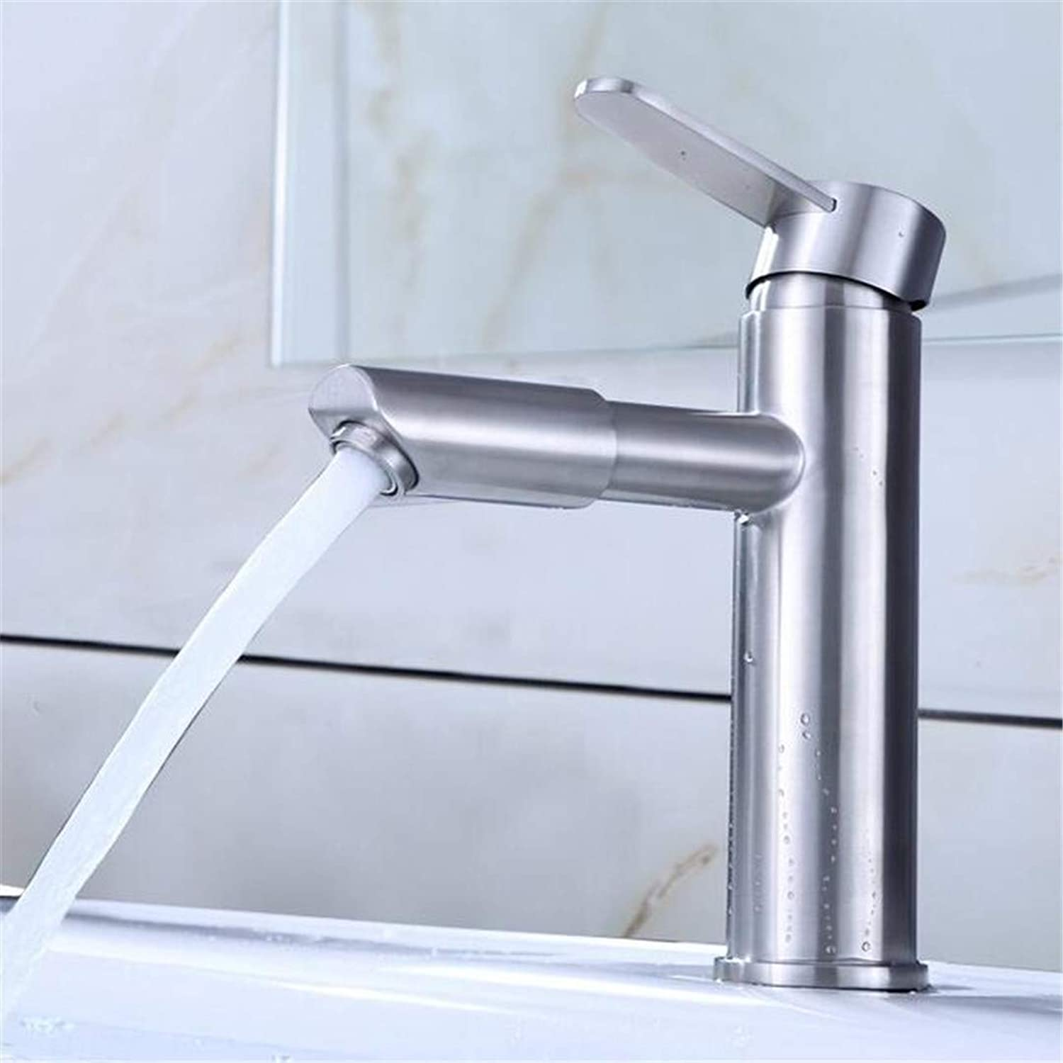 Bathroom Sink Bath Faucet Single Hole Cold and Hot Washbasin Basin Faucet Stainless Steel Seated Table Top Basin Faucet