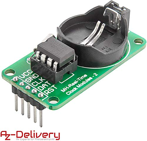 AZDelivery DS1302 Serial Real Time Clock RTC Reloj Tiempo Real Módulo para Arduino Raspberry Pi con eBook incluido