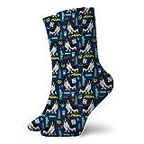 Doxie Piebald Nyc - Calcetines deportivos para perro salchicha (30 cm), color negro y blanco