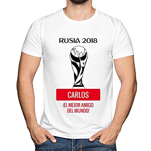 Camiseta Personalizada con Nombre 'Rusia 2018' para animar a la Selección (Blanco)