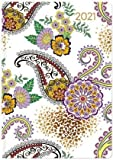 Ladytimer Mini Paisley - Taschenkalender A7 - Kalender 2021 - Alpha Edition-Verlag - Eine Woche auf 2 Seiten - Buchplaner mit Lesebändchen und Platz für Notizen - Format 8 cm x 11,5 cm