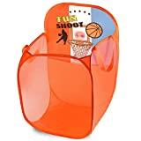 Kids Fun LED Basketball Light-Up Mesh Pop-up Hamper, Collapsible Space Saving and Easy to Store, Reinforced Heavy Duty Side Carry Handles