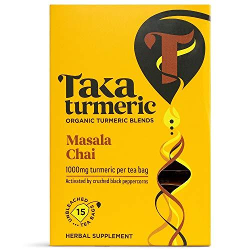 Taka Turmeric Tea, Organic Masala Chai, Individually Wrapped Turmeric Chai Tea Bags, High Dose of Turmeric, Certified Organic by Soil Association (4 x Carton (60 Tea Bags))