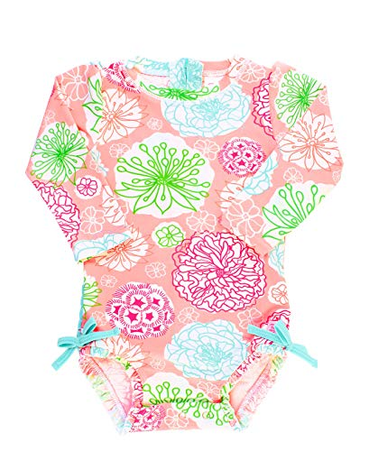 RuffleButts Baby/Toddler Girls Long Sleeve One Piece Swimsuit - Tropical Garden with UPF 50+ Sun Protection - 12-18m