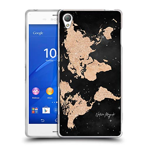 Head Case Designs Offizielle Nature Magick Copper Bronze Sparkles World Map Rose Gold Glitter Soft Gel Huelle kompatibel mit Sony Xperia Z3