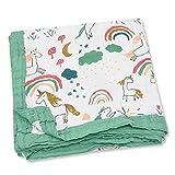 Vier-Schicht 70% Bambus 30% Baumwolle Baby-Muslin Decke Kinder Badetuch Baby-Bettwäsche for Neugeborene Baby-Decke Infant Wrap 120x120cm (Color : Rainbow Horse)