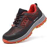 LIfav Zapatos De Seguro De Trabajo De Los Hombres, Zapatos Aislantes De Electricista Anti-Aplastamiento Y Anti-Piercing 10KV. Suela De Electricista Resistente Al Desgaste De 10Kv,Rojo,43