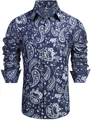 Daupanzees Mens Paisley Fashion Long Sleeve Street Wear Unique Revel Modern Birthday Polyester Luxury Graphic Print Button Up Denim Shirts (Blue-Small Paisley M)