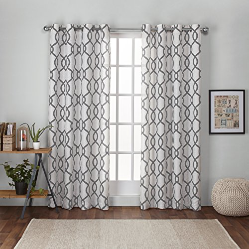Exclusive Home Kochi Linen Blend Window Curtain Panel Pair with Grommet Top, Black Pearl, 52x84, 2 Piece