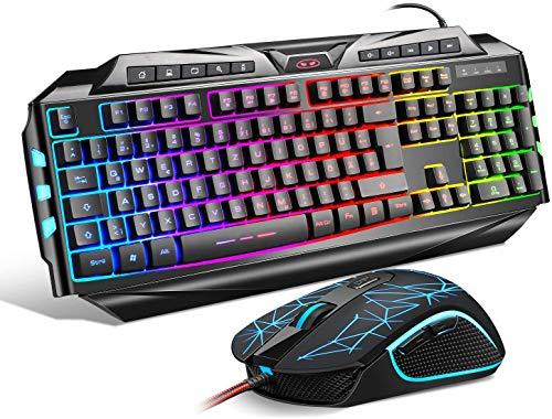 {DE Layout} Gaming Tastatur Maus Set GK710 Rainbow LED Hintergrundbeleuchtete Tastatur und Maus Combo Set für Xbox One USB PS4