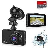 HALUM Dashcam Auto Vorne Hinten Autokamera 3 Zoll Full HD 1080P Dual Dash Cam mit 170 °...