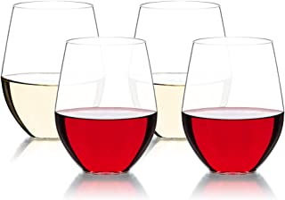 MICHLEY Stemless Red and White Wine Glasses 16oz, Unbreakable Tritan Plastic Wine Tumblers Set for Holiday, Party, Birthday, Dishwasher Safe, BPA Free, Set of 4