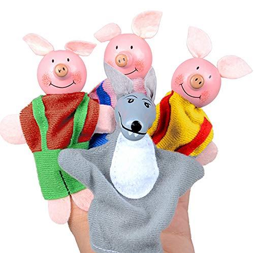 XKMY Títeres de mano para mascotas, 4 unidades, tres pequeños cerdos y marionetas de dedo de lobo y marionetas de mano, lindos accesorios de cuenta, regalos de Navidad de cumpleaños para niños