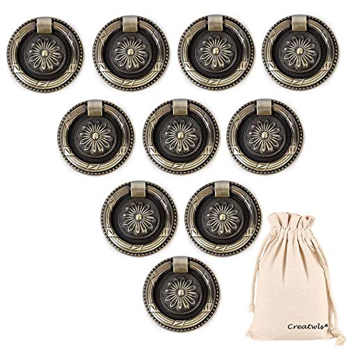 Creatwls 10 stks Ring Trekken voor Dressoir Kast Kledingkast Vintage Ring Trekken Lade Knop Keuken Kast Drop Ring Handgrepen Lade Trekken, Zink Legering Small Retro Bronze