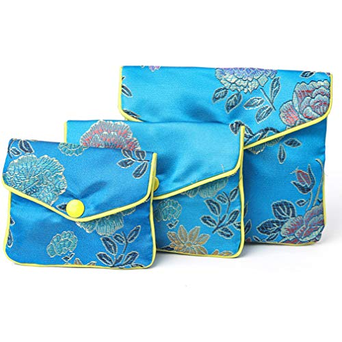 4EAELove Silk Jewelry Purse Pouch Gift Bags Blue Brocade Earring Storage Display Holder Case Organizer Gift Pack of 12