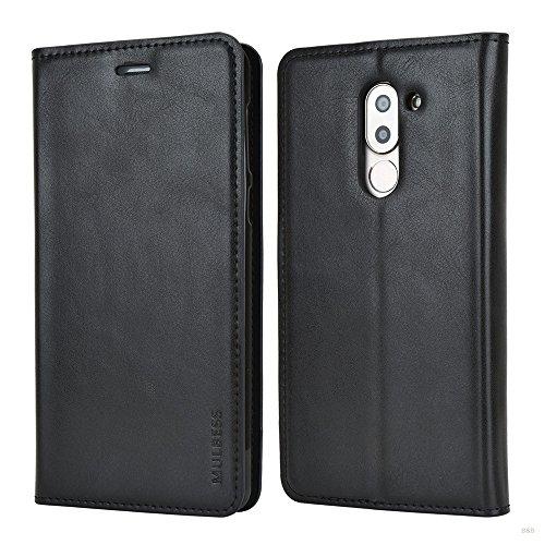 Mulbess Huawei Honor 6X Hülle, Leder Flip Tasche mit Wallet Case für Huawei Honor 6X LTX adn Honor 6X Pro Handy Tasche Cover Etui, Schwarz