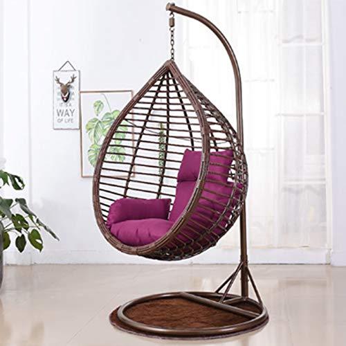 Silla de columpio de interior, sillas de cubierta de muebles al aire libre, silla colgante de lágrima con soporte rosa rojo