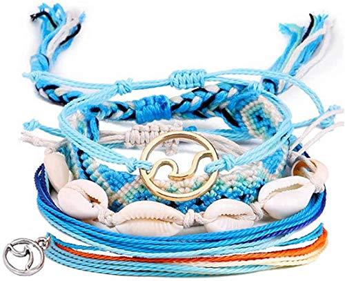 Sllrrka Bohemian Wave Shell Bracelet Set for Women Wax Coated Braided Rope Beach Jewelry (5Pcs-Shell-Blue&White&Gold))