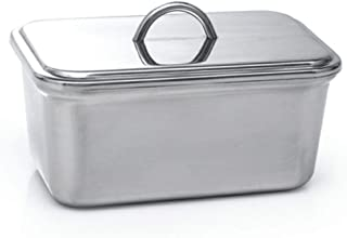 GOURMEX Large Butter holder with Lid | Fits One Pound of Butter | Ideal Butter Keeper for Salted, Unsalted and Flavored Butter in Fridge | Stainless Steel Covered Butter Dish is Dishwasher Safe