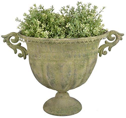 Esschert Design AM70 - Urna Ovale in Metallo, Grande, Colore: Verde