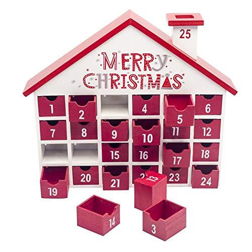 Houten kerstmis Advents Countdown kalendoos opbergdoos kerstversiering geschikt voor commerciële ramen woonkamer kantoor