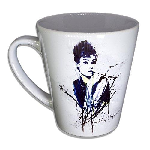 Audrey Hepburn - Unikat Handarbeit Designer Tasse aus brillanten Porzellan - Tasse, Becher, Kaffeetasse, Teetasse Keramik Tasse, 330ml, Geschenk für Freunde