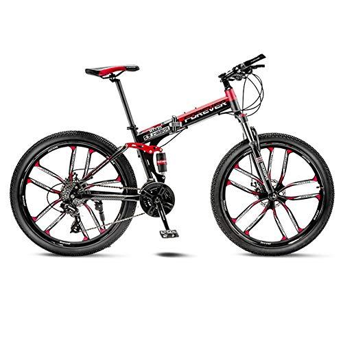 YB&GQ Full Suspension Adult Mountain Bikes with Disc Brakes,MTB Bikes for Men Women Intermediate to Advanced,24in Folding Bike Mountain Bike