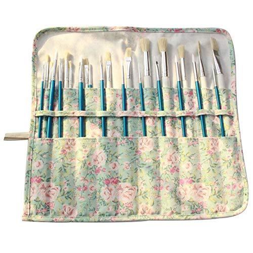 Bolsa de lona para pinceles de pintura de artista, bolsa enrollable para pinceles de pintura, bolsa de lona para acrílico, acuarela, óleo, pincel, color negro