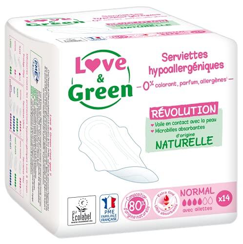 Love & Green Serviettes Hypoallergéniques Normal 0% - Paquet de 14 serviettes